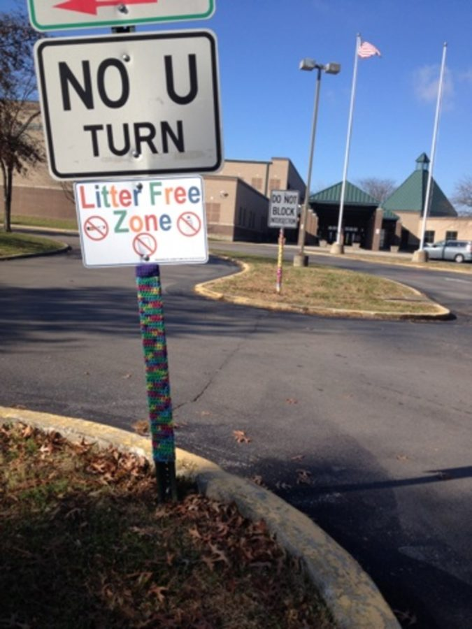 Students created art with yarn to decorate PLD's parking lot.