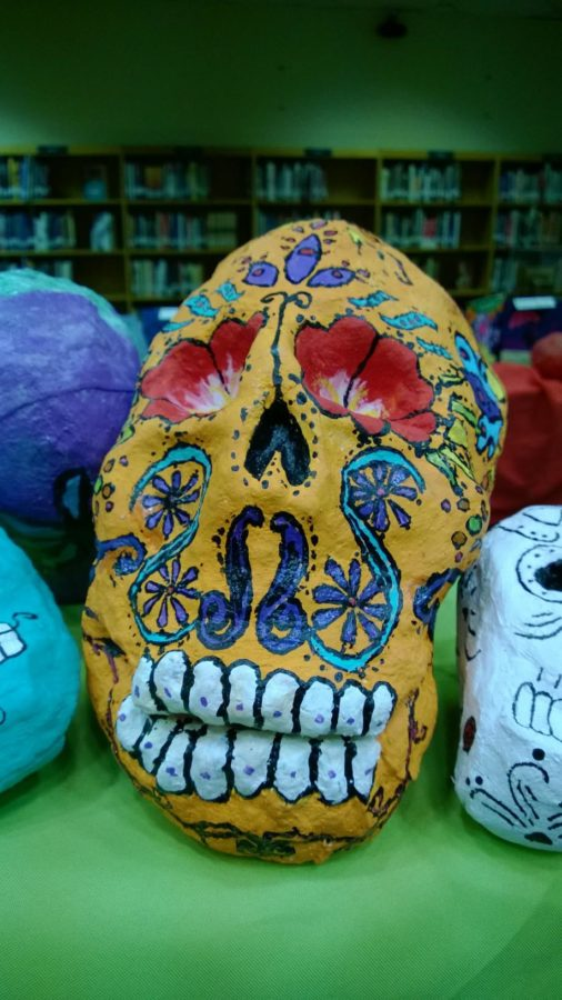 Students used paper maiche to create painted skulls.
