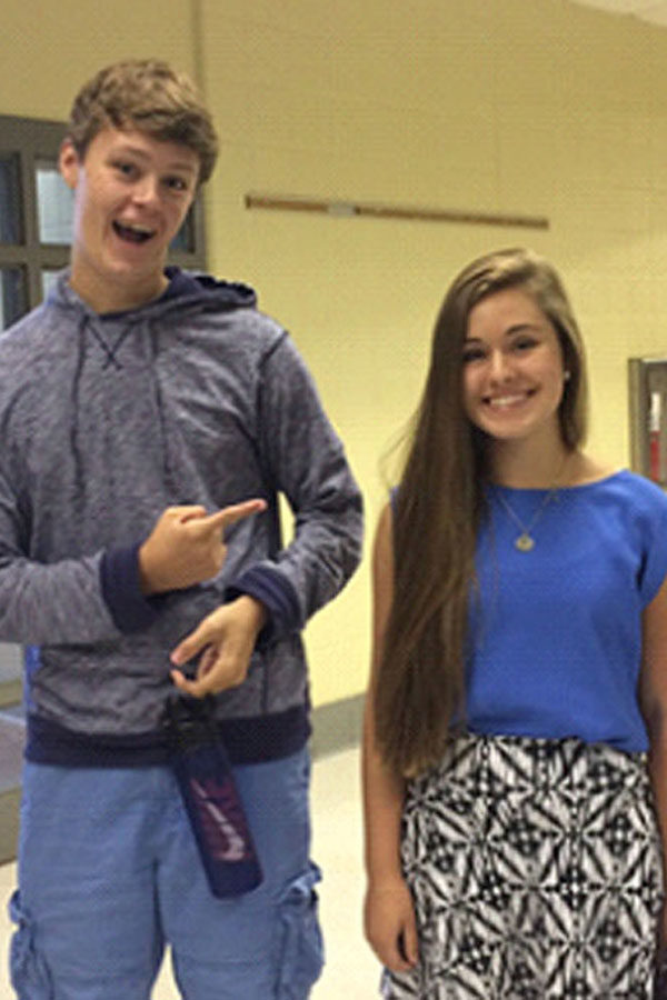 Tenth graders Zach Hall and Mackenzie Cohn readily greet the new school year.