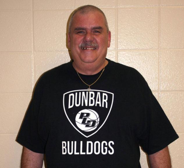 Custodian Bob Stone wearing Dunbar gear. He said he was proud to work at the school.