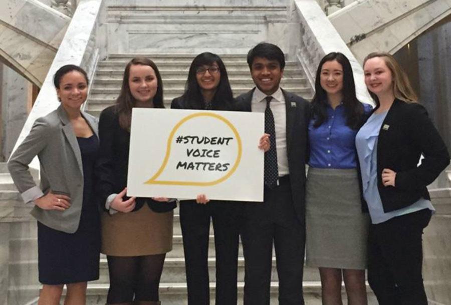 Student Voice Team members including Dunbar seniors Susie Smith, Meghana Kudrimoti and Sahil Nair.