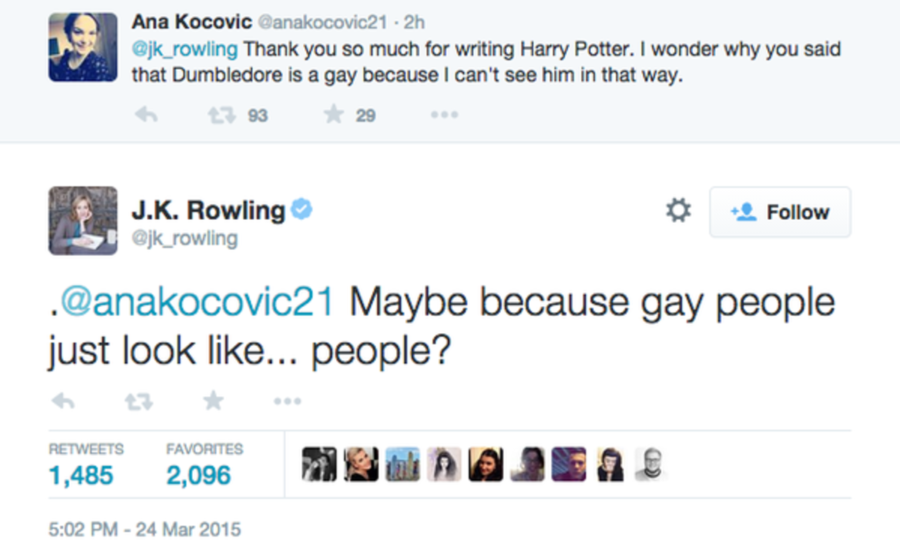 A screenshot of the tweet Ana Kocovic posted @jk_rowling
