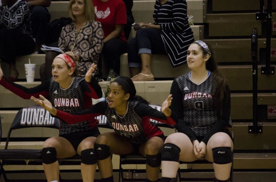 Katie Shunk (left) and Leah Edmond (middle) questioned a call during a game.