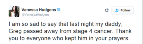Vanessa Hudgens announces the death of her father on Twitter.