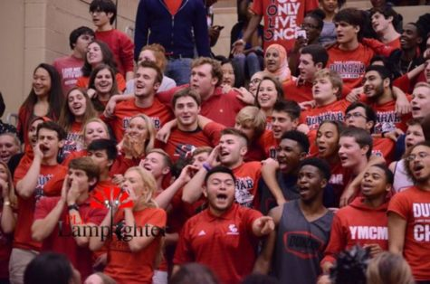 The senior section at the pep rally showed their school spirit.