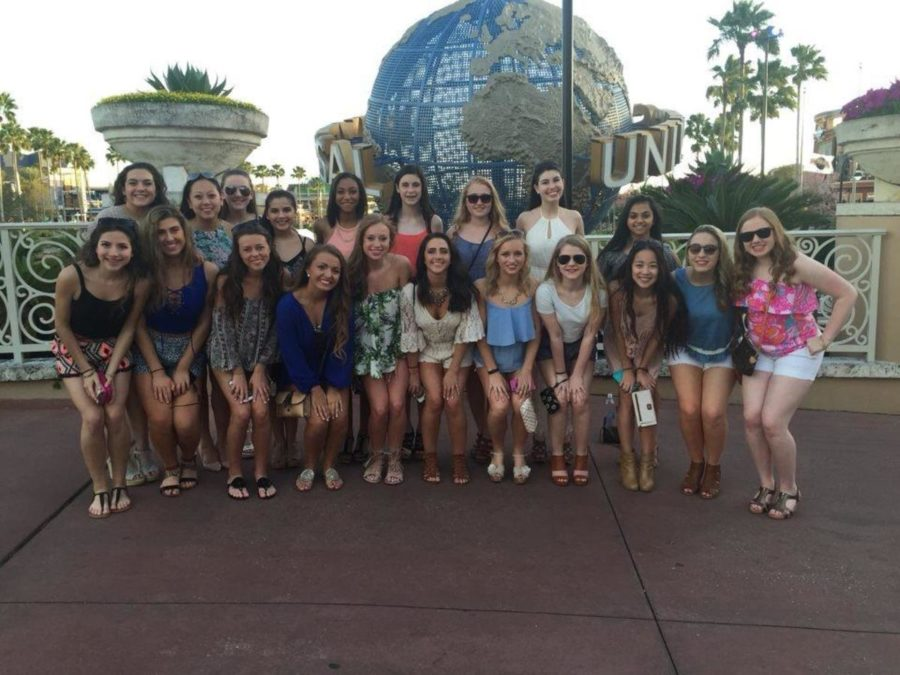 Dunbar Dance Team poses for a picture at Universal Studios.