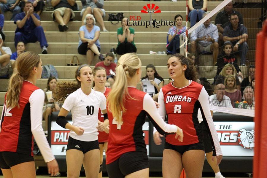 #8 Savannah Dudek and #4 Jessie Durbin high five after scoring a point.
