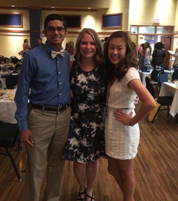 Seniors Nisarg Patil and Yoon Cho with GSP faculty member and Dunbar teacher Ms. Melanie Timmers at the GSP final banquet.