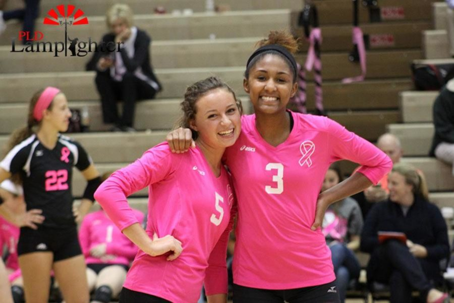 #5 Allie Chapman and #3 Asia Henderson during the game