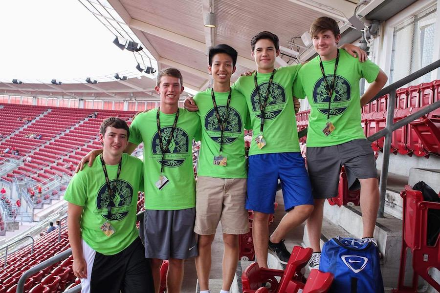 Senior Ben Xie and his GSP friends at a Cincinnati Reds baseball game.
