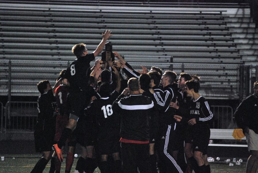 Celebration ensues after the victory.