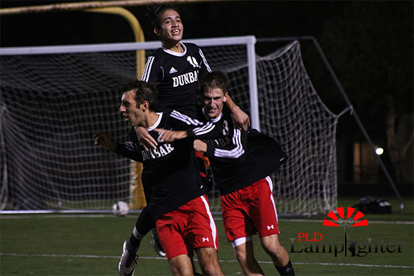 Dunbar players get excited mid-game.