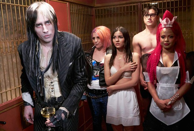 A still from the new film, L to R Reeve Carney as Riff Raff, Annaleigh Ashford as Columbia, Victoria Justice as Janet, Ryan McCartan as Brad, and Christina Milian as Magenta