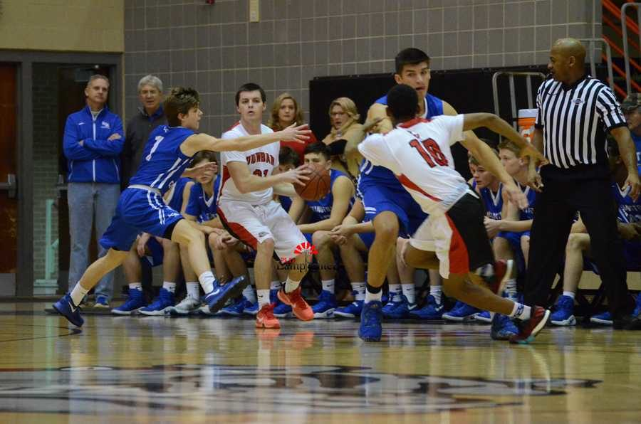 Senior Matthew Browne looks for a teammate to pass to.