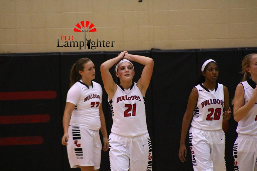 Junior, Peyton Humphreys becomes frustrated with the game. Danville was 3 points behind The Lady Bulldogs before making a 3 point shot at the last second, bringing both teams into overtime.