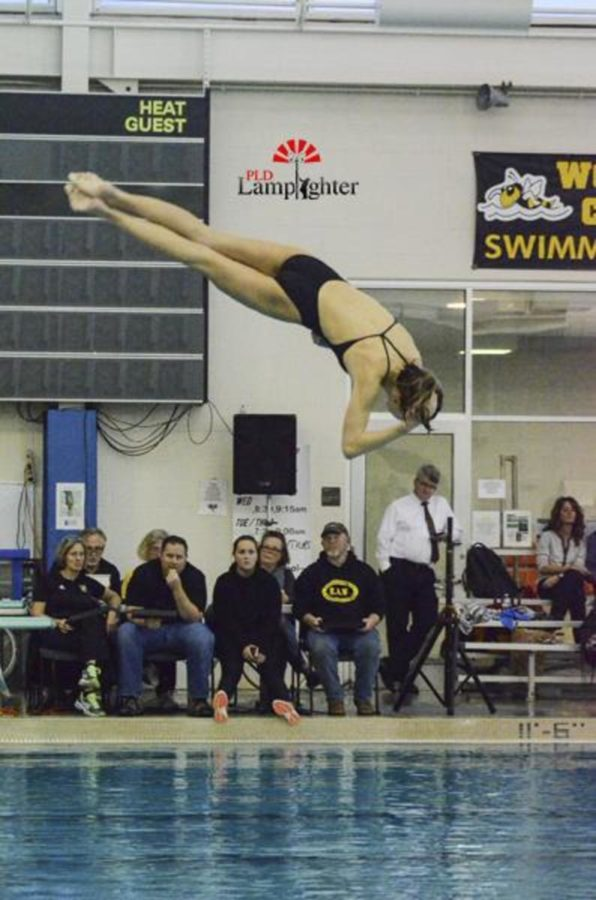 Freshman Taylor Albrecht does a front somersault full twist.