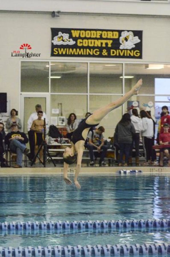 Caroline McMillin prepares to enter the water during a forward dive.