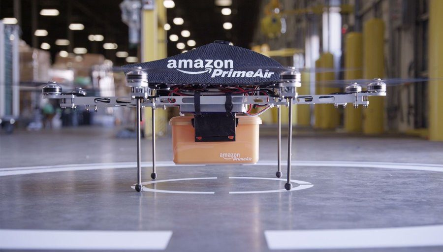 Amazon Prime Air is a new delivery system designed to quickly deliver packages with the use of drones.
