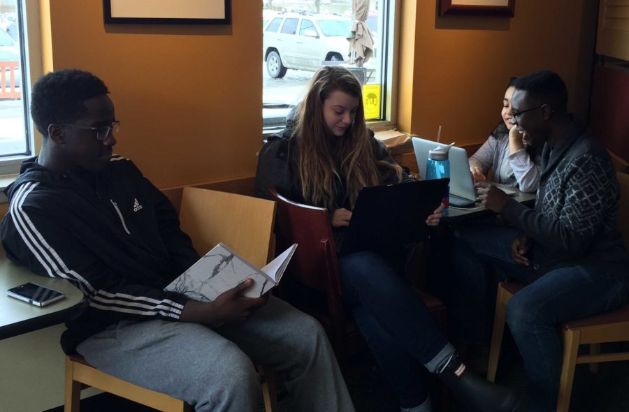 On Jan. 6, FCPS schools were closed, but these Dunbar students meet at Panera to study at noon. Senior Gbutue Vorkpor said he didn't want to fall behind.