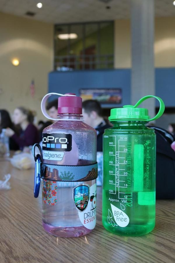 Many students are opting to carry reusable water bottles that they can personalize with stickers.
