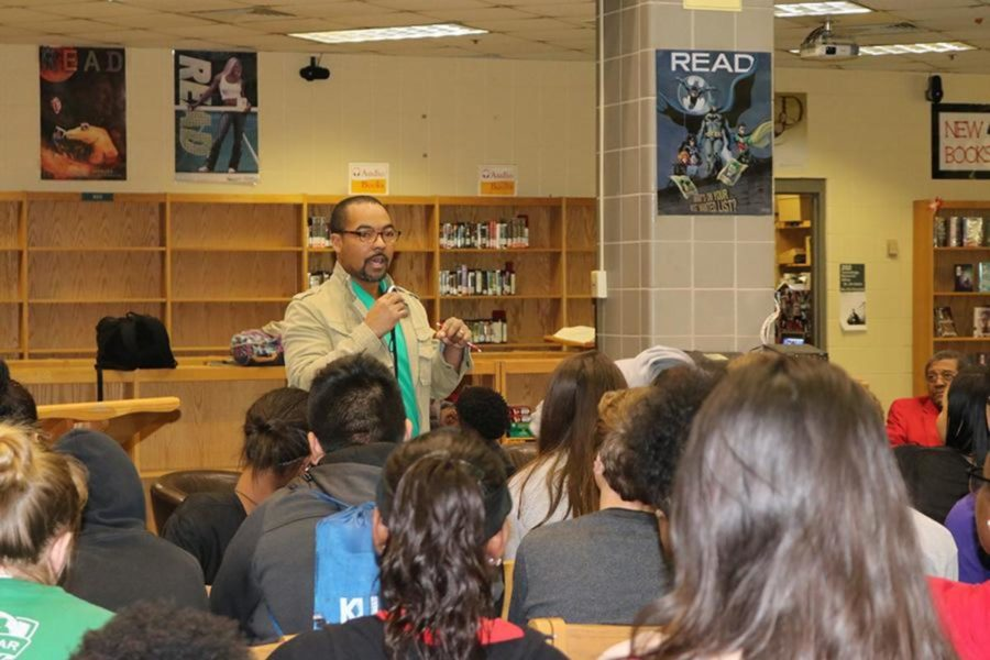 Dunbars social worker, Mr. Steve Duerson, introduces the guest speakers to the students.