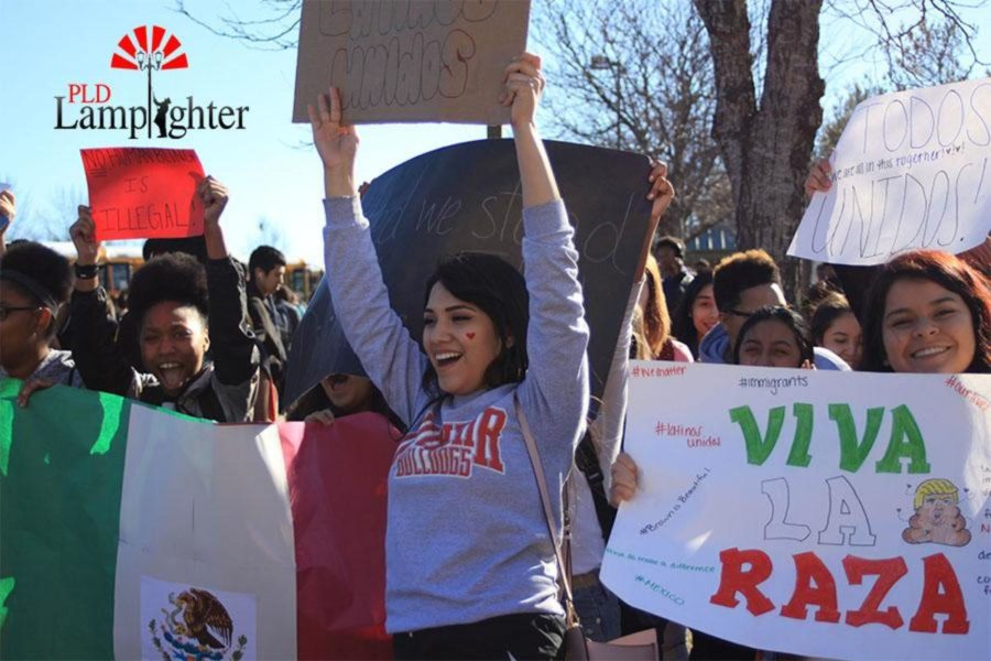 Students chanted and held posters at the rally held on Dunbar's campus on Feb. 17.