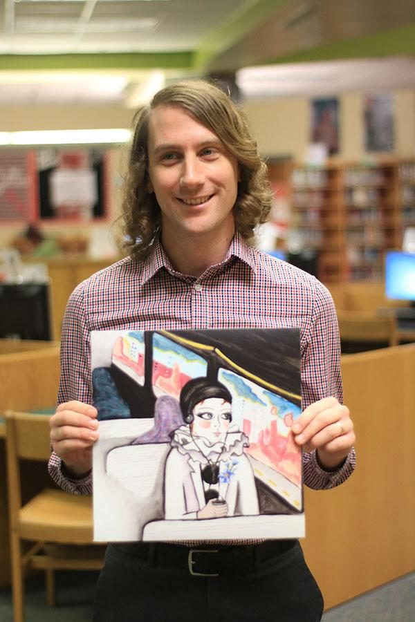 English teacher Mr. Trevor Tremaine holds his band, ATTEMPT's new album titled Personal Fables.