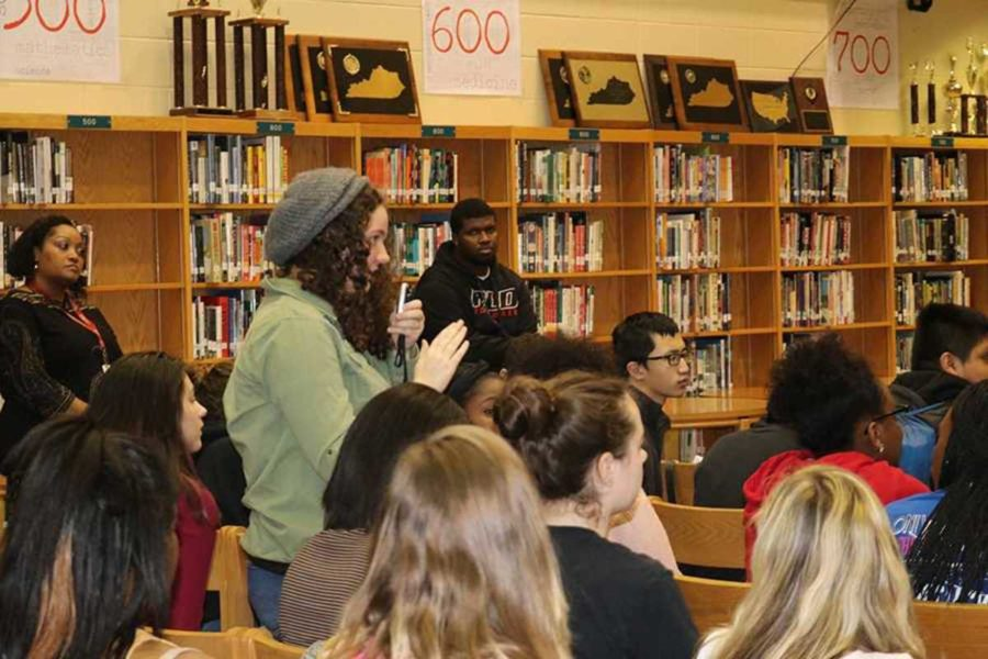 Students ask questions about the guest speakers experiences at the old Dunbar.