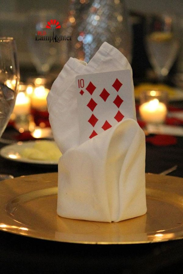 Decorations for the Senior Dinner Dance's casino theme.