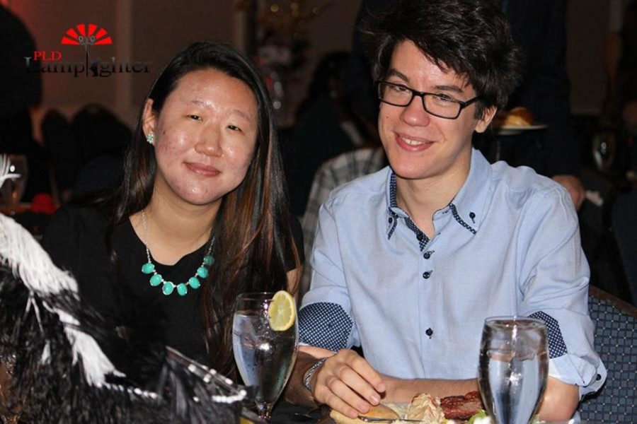 Lamplighter Editor-in- Chief Emily Liu poses with Justin Kline during the dinner.