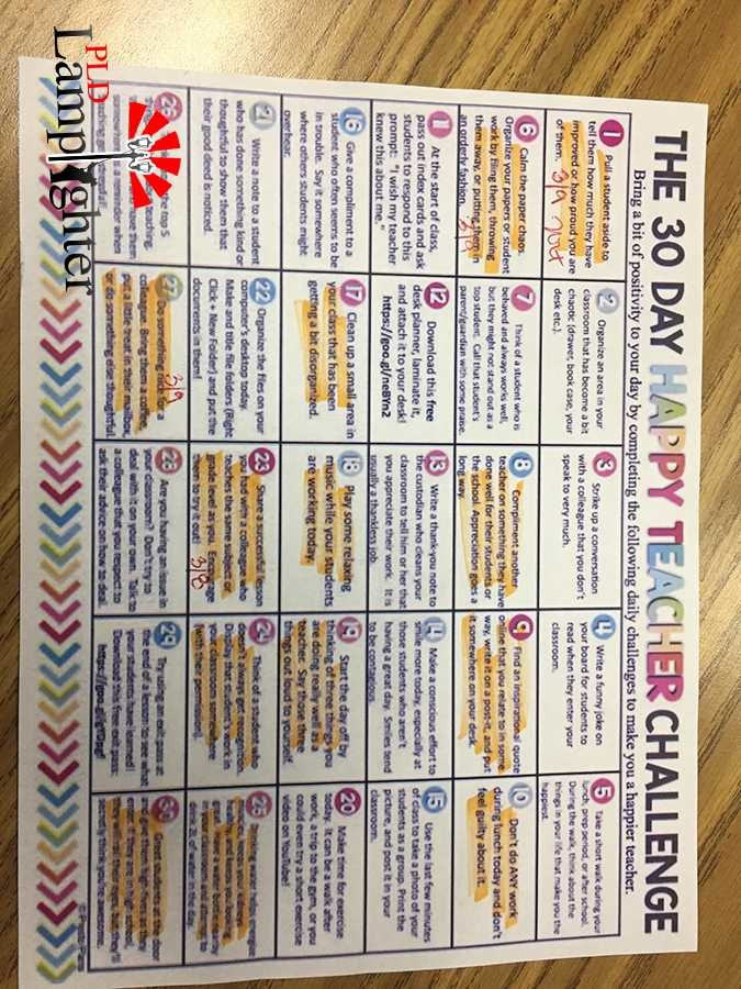 The 30-Day Happy Teacher challenge is a project hosted by the English department with 30 boxes of activities teachers can choose from to spread positivity within their work-life, classroom, or personal life in regards to work.