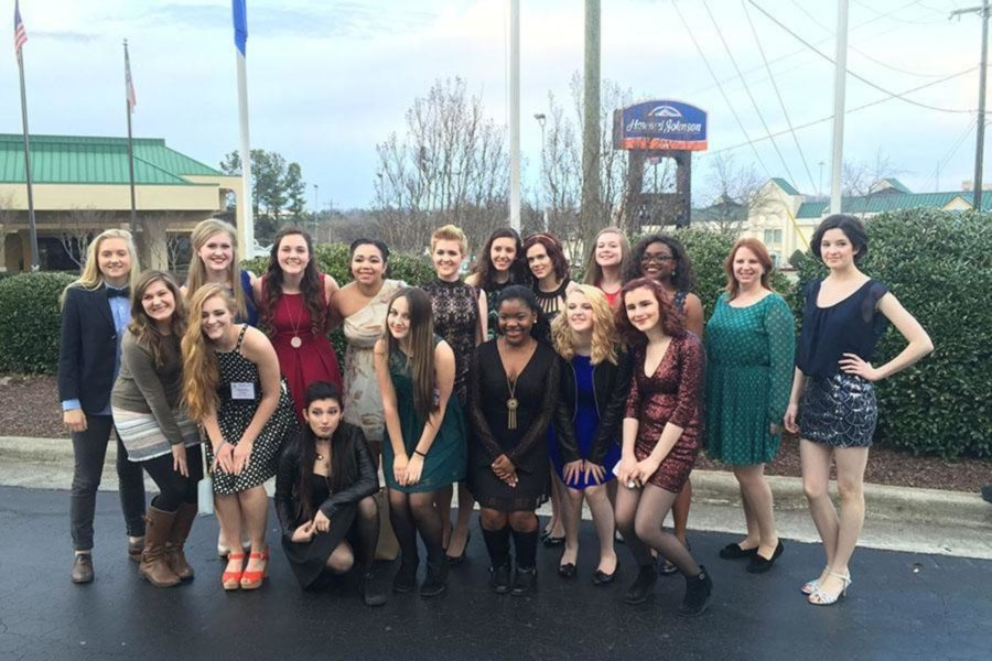 A group of girls at last year's SETC in Greensboro, NC, where they competed the play Radium Girls