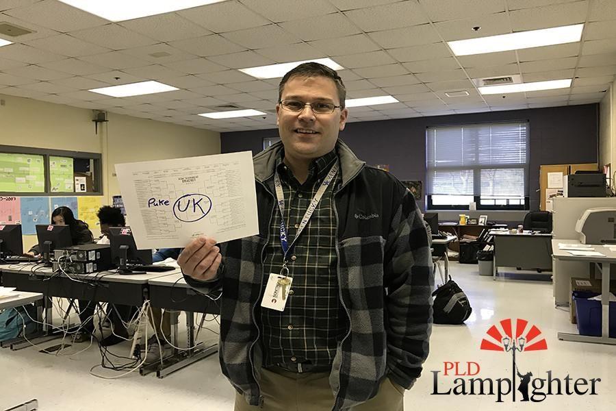 PLD Busniess Teacher Mr. Chet Jenkins  hopes that the University of Kentucky will win the NCAA Mens Basketball.