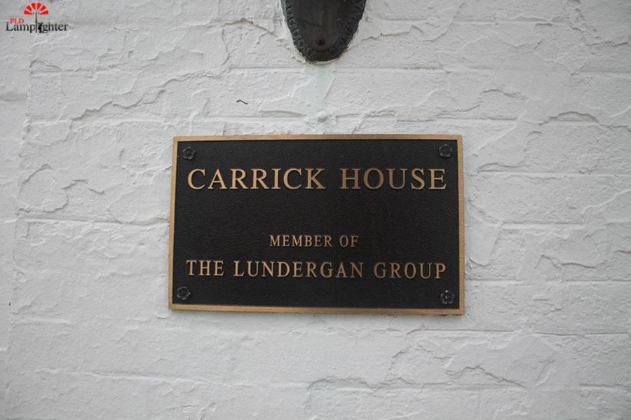 Plaque outside the Carrick House.