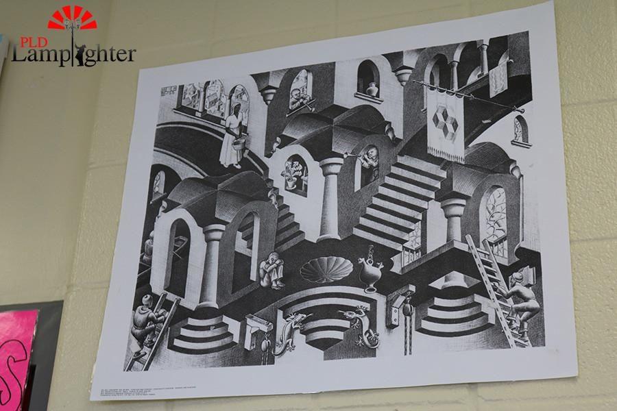 An art poster hangs in Mrs. Pawleys classroom. classroom.