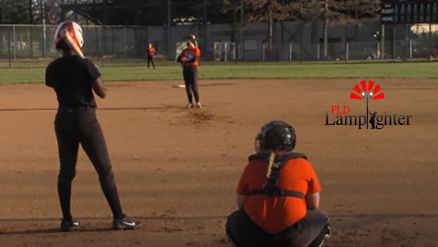 Senior Tia Wilson stands in wait for the pitched ball during their team scrimmage on March 10.