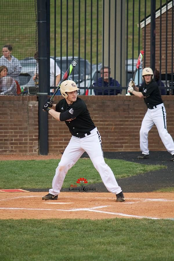 Senior Austin Shepherd preparing to take a swing.