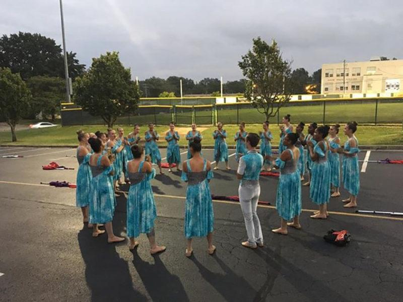 The Color Guard gets ready to preform their half time show.