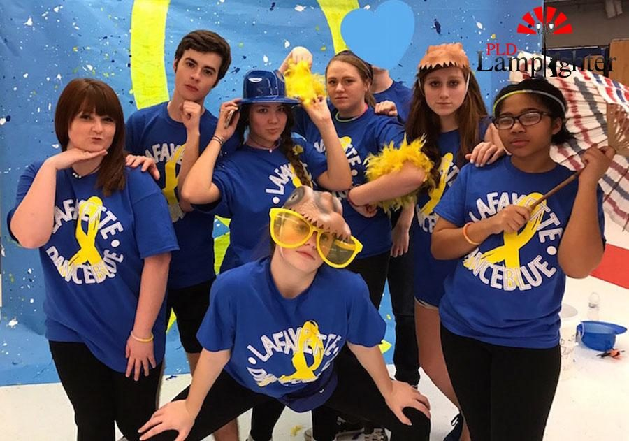 Junior Abby Hendren with Lafayette students at Lafayette High School's Dance Blue.