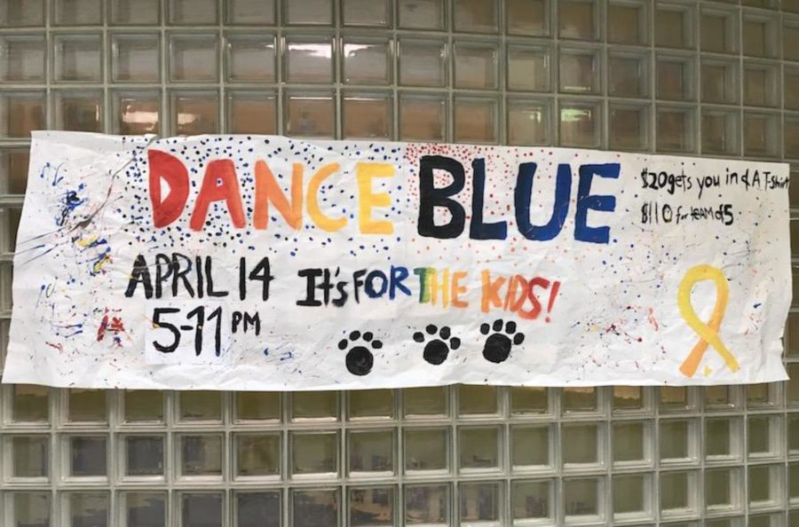 One of the student-made posters promoting Dunbars Dance Blue event.