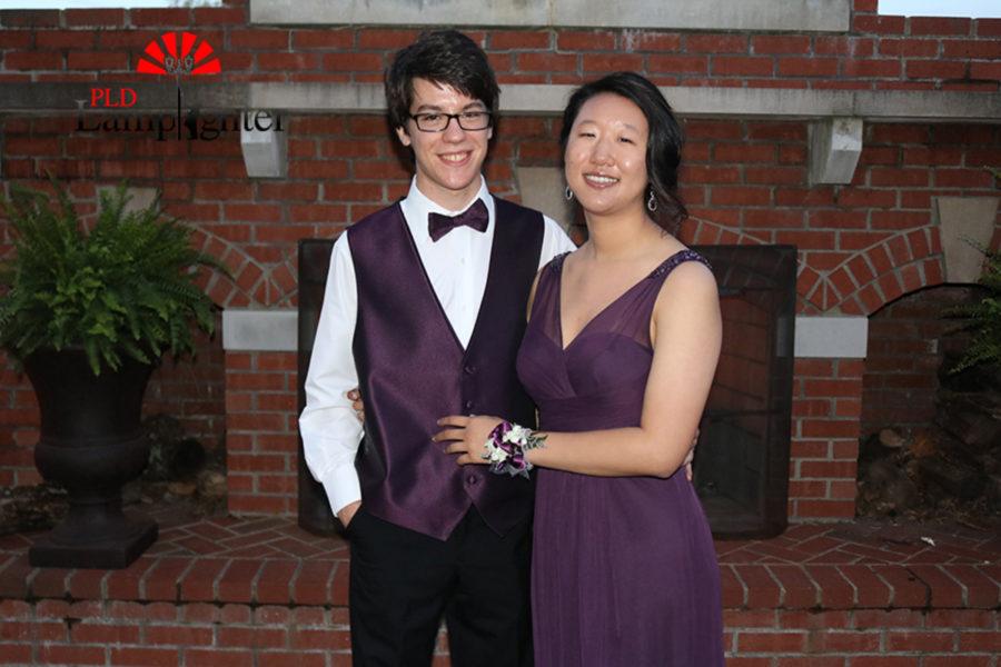 Seniors Justin Kline and Emily Liu posed on the patio.