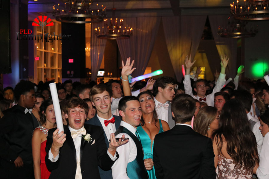 Prom attendees were given glow sticks.