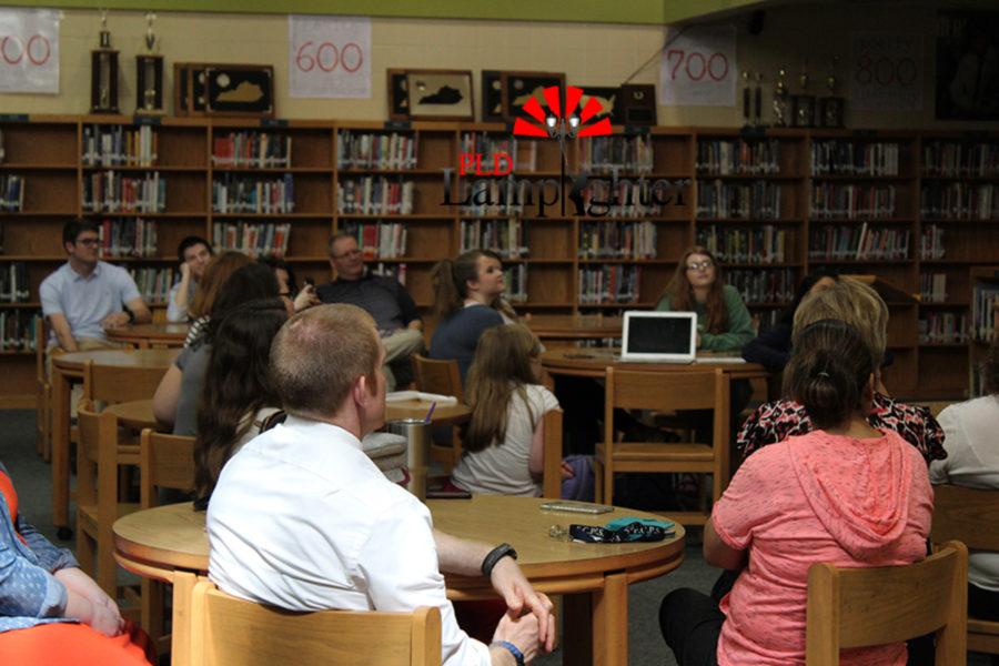 Mr. Zimmerman and his fellow world language teachers watch the teacher appreciation video.