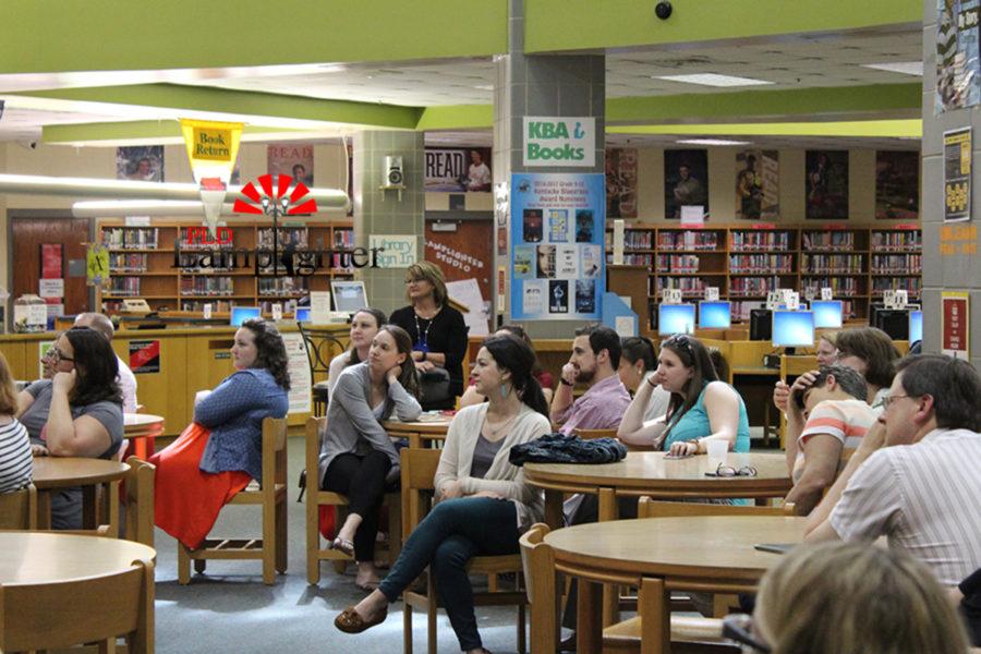 Teachers watch the teacher appreciation made by Juniors Olivia Geveden, Mackenzie McConnell, Olivia Zastro, Jasmine Ahmad, and Sahar Mohammadzadeh.