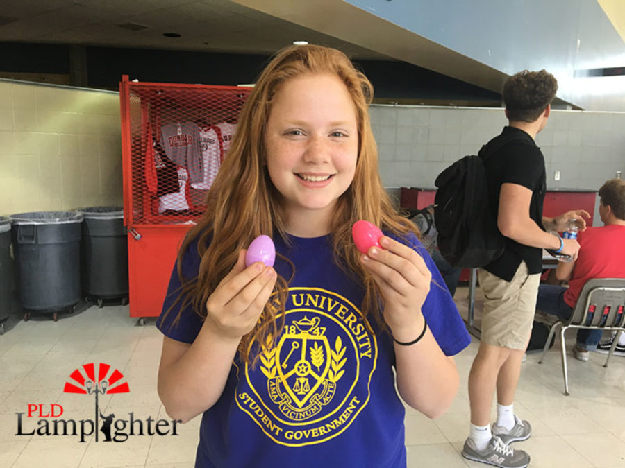 Freshman Carolyn Swartzentruber finds two eggs in the school cafeteria during fifth lunch.