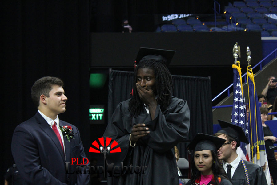 Javea Richardson before walking across the stage to receive his diploma.