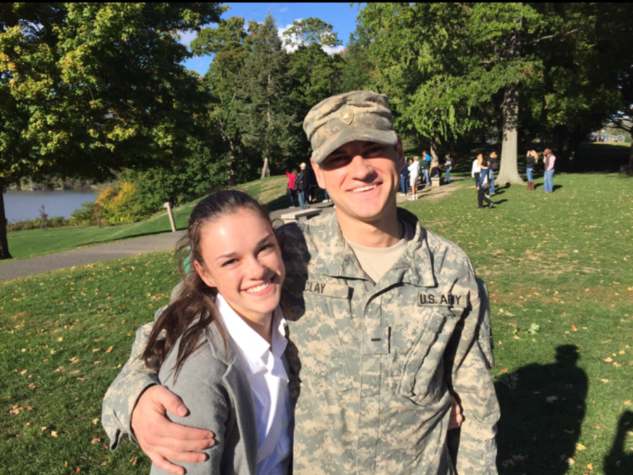 Senior Mackenzie Clay, a US Airforce Academy cadet, pictured with her brother, Dunbar graduate Caleb Clay, a U.S. Army cadet at the United States Army Academy. Regardless of the rivalry between the Airforce and Army, both sister and brother can be seen happily smiling at the camera.