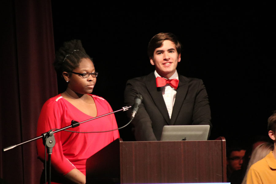 Faculty Cup winners Addie Brown and Jack Stokley emceed the Senior Awards on May 10.