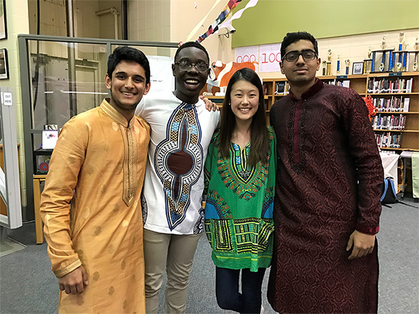 Spadan Buch, Dennis Mashindi, Yoon Choo, Hemanth Sontenam at culture fair.