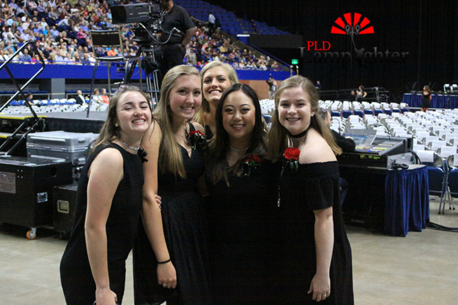 Junior Marshals Hannah Tucker, Virginia Smith, Abby Kelley, Katherine Lin, and MacKenzie McConnell gather for a quick picture before the ceremony.